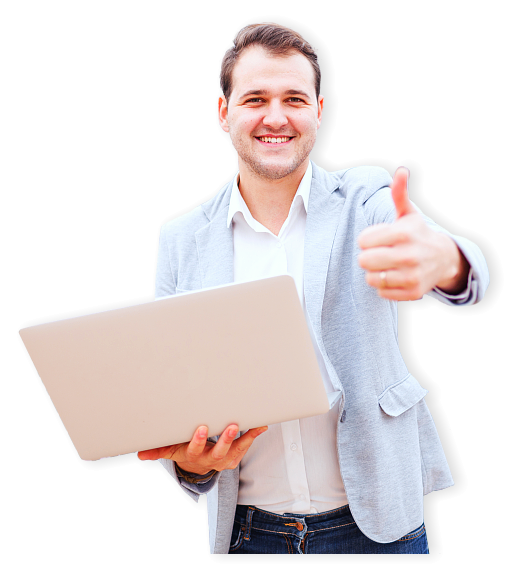 businessman holding  a laptop on his right arm while doing a thumb up his left arm